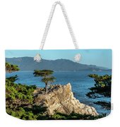 Pebble Beach Iconic Tree With Sun Light At Dusk Weekender Tote Bag