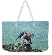 Pelican In Aruba Landing On Lava Rock Weekender Tote Bag