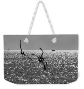 Pelicans Flying By - Black And White Weekender Tote Bag