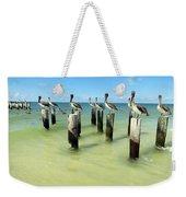 Pelicans On Pier Pilings Weekender Tote Bag