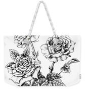 Pen And Ink Roses Weekender Tote Bag