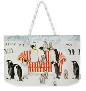 Penguins On A Red And White Sofa  Weekender Tote Bag by EB Watts