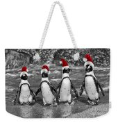 Penguins With Santa Claus Caps Weekender Tote Bag