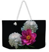 Peonies - Beautiful Flowers - On The Right Is One Of The First Places Among The Garden Perennials Weekender Tote Bag