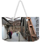 People Crossing Old Yugoslav Weathered Metal Bridge Crossing In Bosnia Hercegovina Weekender Tote Bag