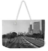 People Cycling On A Road, Bike The Weekender Tote Bag