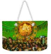 People Enjoying Inside Durga Puja Pandal Durga Puja Festival Weekender Tote Bag