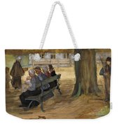 People Sitting On A Bench In Bezuidenhout. The Hague Weekender Tote Bag