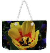 Perfect Yellow And Red Flowering Tulip In A Garden Weekender Tote Bag