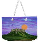 Perigee Moon Rising Above Crow Butte Weekender Tote Bag