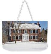 Period Vintage New England Brick House In Winter Weekender Tote Bag