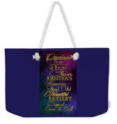 Personality Traits Of A Capricorn Weekender Tote Bag by Mamie Thornbrue