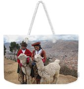Peruvian Girls With Llamas Weekender Tote Bag