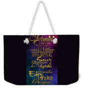 Pesonality Traits Of A Gemini Weekender Tote Bag by Mamie Thornbrue