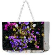 Petunias Through Wrought Iron Window Weekender Tote Bag