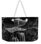 Pewits Nest Waterfalls In Black And White Weekender Tote Bag