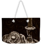Pewter And Pearls - Sepia Weekender Tote Bag
