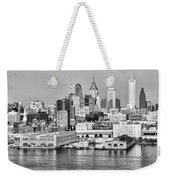 Philadelphia From The Waterfront In Black And White Weekender Tote Bag