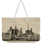 Philadelphia From The Waterfront In Sepia Weekender Tote Bag