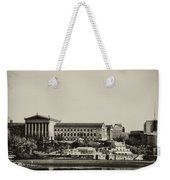 Philadelphia Museum Of Art And The Fairmount Waterworks From West River Drive In Black And White Weekender Tote Bag