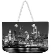Philadelphia Philly Skyline At Night From East Black And White Bw Weekender Tote Bag