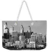 Philadelphia Skyline Black And White Bw Wide Pano Weekender Tote Bag