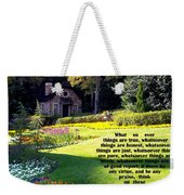 Philippians 4-8 The  Cottage House Weekender Tote Bag by Cynthia Amaral