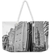 Philly Clothepin And City Hall Reflection In Black And White Weekender Tote Bag