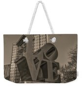 Philly Esque  - Love Statue In Sepia Weekender Tote Bag