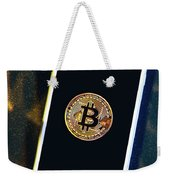 Phone With A Bitcoin Laying On Top Of It. Weekender Tote Bag