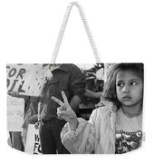 Photography Homage Alfred Eisenstadt Hispanic Girl V For Victory Sign Anti Gulf War Rally Tucson Az Weekender Tote Bag