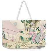 Picnic And Fishing Scene Weekender Tote Bag