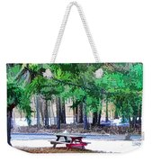 Picnic Area With Wooden Tables 3 Weekender Tote Bag