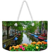 Picturesque View Amsterdam Holland Canal Flowers Weekender Tote Bag