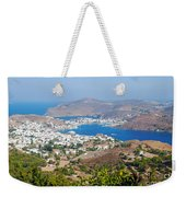 Picturesque View Of Skala Greece On Patmos Island Weekender Tote Bag