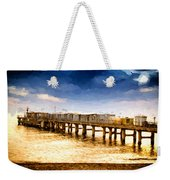 Pier At Sunset Oil Painting Photograph Weekender Tote Bag
