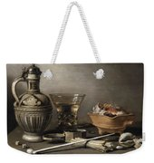 Pieter Claesz - Still Life With A Stoneware Jug, Berkemeyer, And Smoking Utensils 1640 Weekender Tote Bag