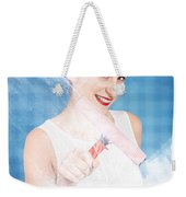 Pin Up Cleaning Lady Washing Glass Shower Door Weekender Tote Bag