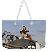 Pin-up Girl Sitting On The Wing Weekender Tote Bag by Christian Kieffer