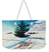 Pine Tree Along The Country Road Weekender Tote Bag