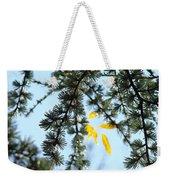 Pine Tree Art Prints Blue Sky Yellow Fall Leaves Weekender Tote Bag