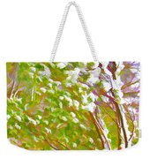 Pine Tree Covered With Snow Weekender Tote Bag by Lanjee Chee