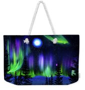 Pine Trees In Aurora Borealis Weekender Tote Bag