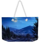 Pine Trees Near Valley In Mountains And Autumn Forest On Hillsid Weekender Tote Bag