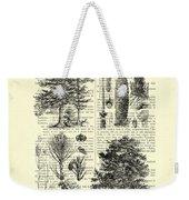 Pine Trees Study Black And White  Weekender Tote Bag