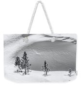 Pines In Snow Drifts Black And White Weekender Tote Bag