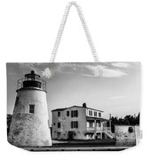 Piney Point Lighthouse - Mayland - Black And White Weekender Tote Bag