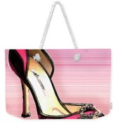 Pink And Black Stripe Shoe Weekender Tote Bag
