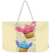 Pink And Blue Cupcakes Vintage Dictionary Art Weekender Tote Bag