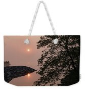 Pink And Green Summer - Soft Misty Sunrise On The Lake Weekender Tote Bag